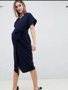 Asos Maternity Navy Wrap Midi Dress